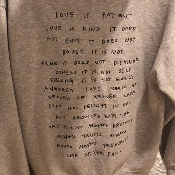 Grey hoodie w Corinthians bible verse